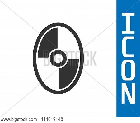 Grey Greek Shield With Greek Ornament Icon Isolated On White Background. Vector