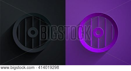 Paper Cut Greek Shield With Greek Ornament Icon Isolated On Black On Purple Background. Paper Art St