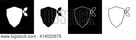 Set Vandal Icon Isolated On Black And White Background. Vector