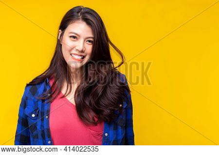 Happy Beauty Asian Woman Look At Camera With Happy And Smile Face Expressive Facial Expressions Conc