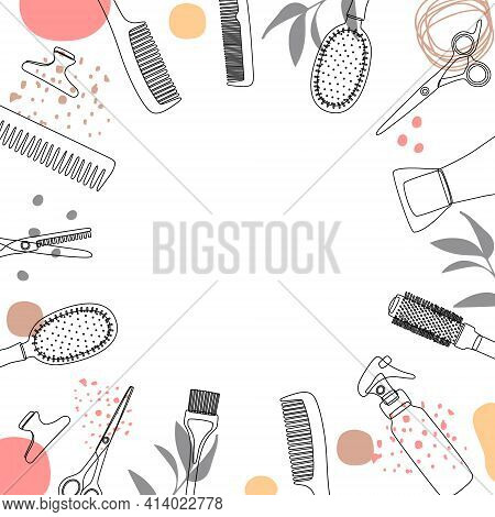 Frame, Border Of Hairdressing Tools. Hair Salon Accessories Outline, Hair Dryer, Comb, Scissors And