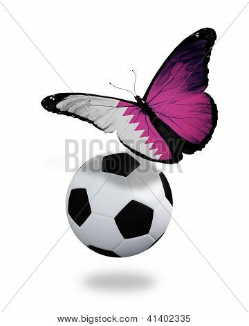 Concept - Butterfly With Qatari Flag Flying Near The Ball, Like Football Team Playing