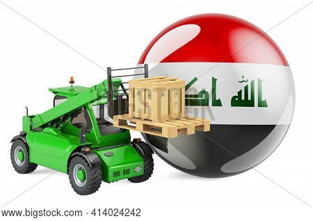 Iraqi Flag With Telescopic Handler Truck And Parcel. Cargo Shipping In Iraq Concept, 3d Rendering Is