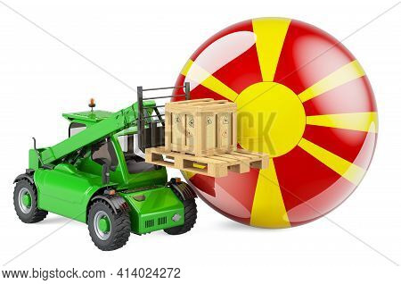 Macedonian Flag With Telescopic Handler Truck And Parcel. Cargo Shipping In Macedonia Concept, 3d Re
