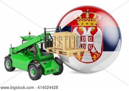 Serbian Flag With Telescopic Handler Truck And Parcel. Cargo Shipping In Serbia Concept, 3d Renderin