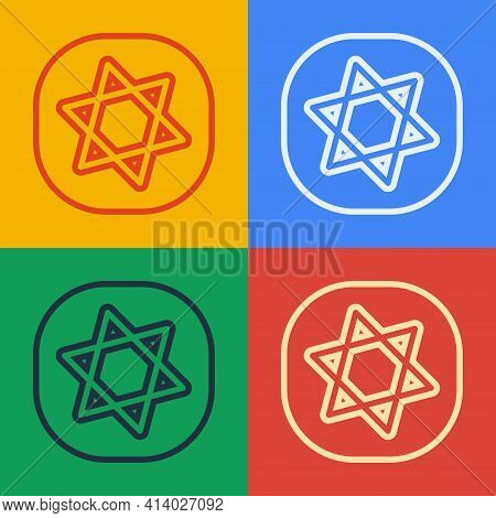 Pop Art Line Tarot Cards Icon Isolated On Color Background. Magic Occult Set Of Tarot Cards. Vector
