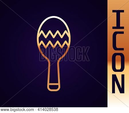 Gold Line Maracas Icon Isolated On Black Background. Music Maracas Instrument Mexico. Vector
