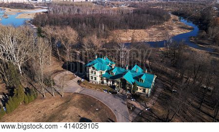 Aerial View Of The Old Manor. Loshitsa Manor, Minsk, Belarus. Back View.