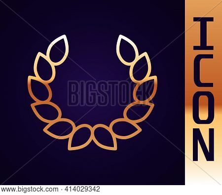 Gold Line Laurel Wreath Icon Isolated On Black Background. Triumph Symbol. Vector