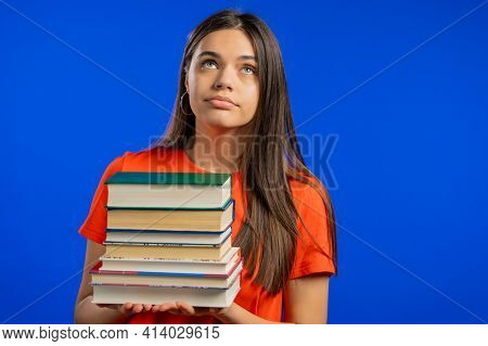Bored Woman Is Dissatisfied With Amount Of Homework And Books. Lady Is Annoyed, Discouraged Frustrat