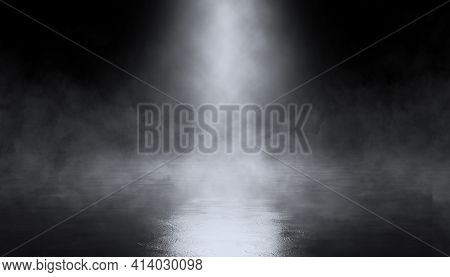Abstract Dark Background, Smoke, Smog, Light. Empty Scene, Top Spotlight.