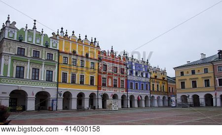 Zamosc, Poland, November 10, 2020. Town Zamosc Is Unesco World Heritage List Site. Great Market Squa