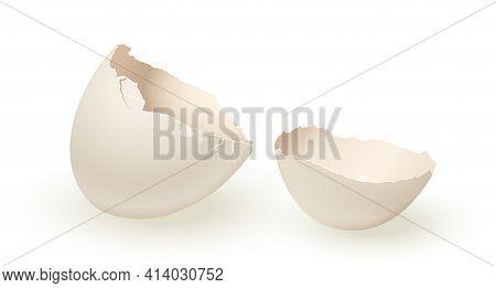 Broken Empty Eggshell Isolated On White Background. Vector Realistic White Egg.