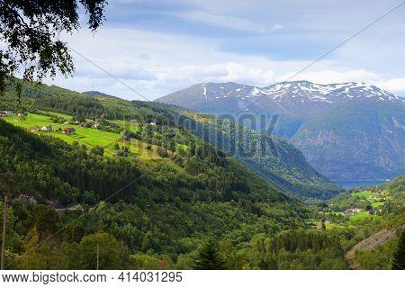 More Og Romsdal Region In Norway. Eidsdal Valley Landscape. Summer In Norway.