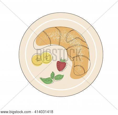 Top View Of A Croissant Sprinkled With Powdered Sugar. Fresh Pastries On A Plate With Fruit And Mint