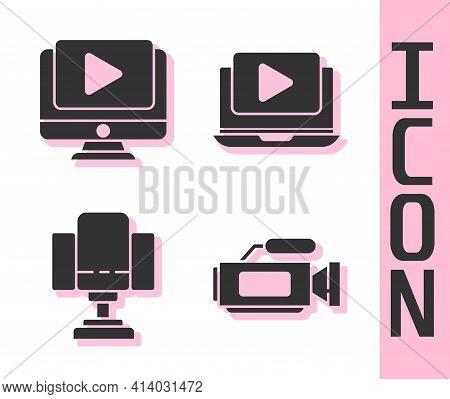 Set Cinema Camera, Online Play Video, Director Movie Chair And Online Play Video Icon. Vector