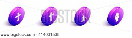 Set Isometric Christian Cross, Christian Cross, Burning Candle In Candlestick And Easter Egg On A St