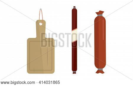 Wurst Salami And Cutting Board As Butcher Shop Or Meat Market Product Vector Set