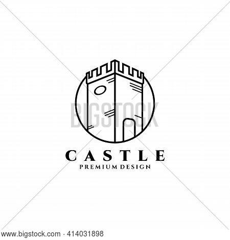 Castle Logo Vector Illustration Design, Line Art Simple Castle Icon