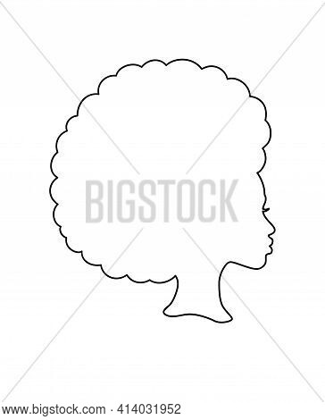 Black Afro African American Girl Woman Lady Vector Portrait Profile Head Face Outline Line Silhouett