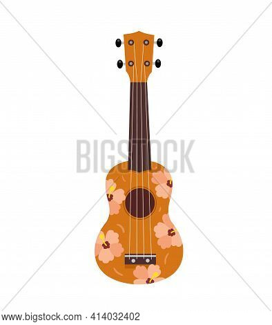Colored Ukulele. The Tool Is Brown, Decorated With Flowers. Musical Instrument. Relaxation, Hawaii,