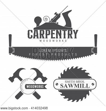 Carpentry, Woodworks, Sawmill Emblem. Vector Illustration Isolated On White