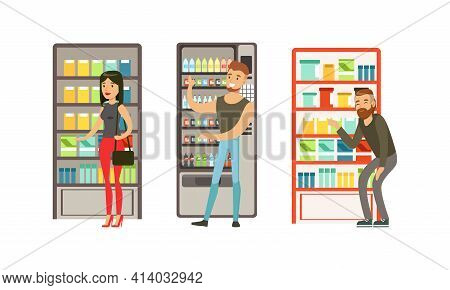 People Characters Near Vending Machine In Supermarket Buying Products Vector Illustration Set