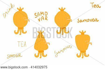 Hand Drawn Russian Golden Samovar. Kattle Teapot Object To Make Hot Drinks Beverages In Winter Seaso