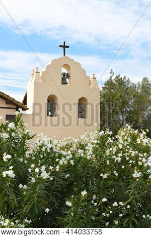 SOLVANG, CALIFORNIA - SEPTEMBER 21, 2016: Bell Tower Santa Ines Mission. Founded on September 17, 1804,  today it serves as a museum as well as a parish church of the Archdiocese of Los Angeles.