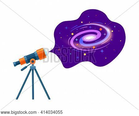 Astronomical Telescope Tube, Space And Galaxy. Dome Of The Astronomical Observatory. Astronomical Sp