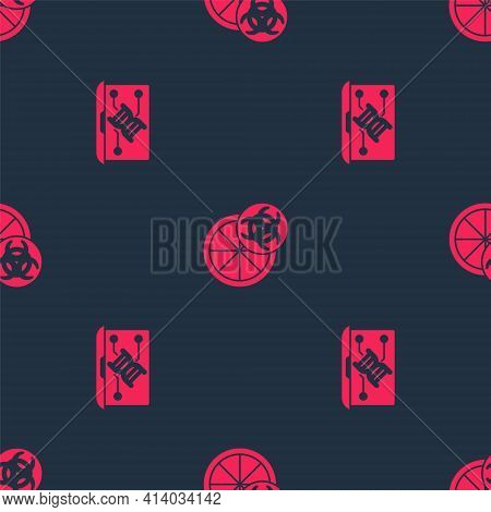 Set Genetic Engineering Modification And Genetically Modified Orange On Seamless Pattern. Vector