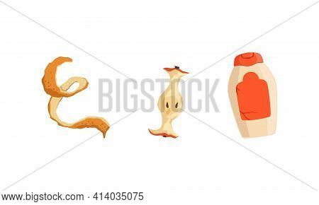 Garbage And Waste With Plastic Tube And Orange Peel Vector Set