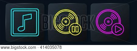 Set Line Music Note, Tone, Vinyl Disk And Vinyl Disk. Black Square Button. Vector