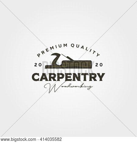 Vintage Jack Plane Logo Vector For Carpentry Service Symbol Illustration Design, Carpenter Woodwork