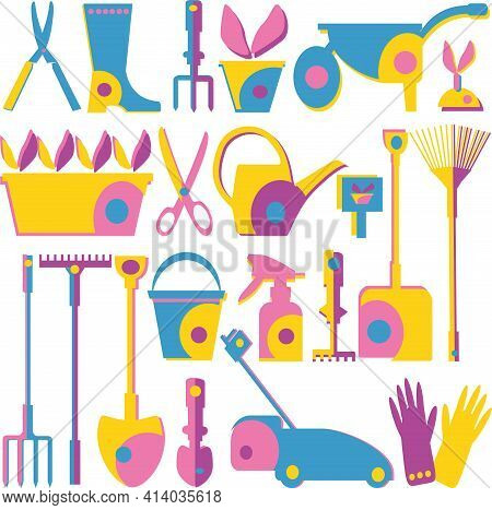An Image Of A Vegetable Garden And Gardening Tools. Gardener Day.