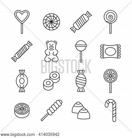 Candy Icon Vector Set. Line Collection With Lollipop, Sweets, Caramel, Candy Cane, Chocolate, Gummy