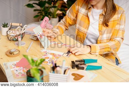 Cropped Shot Of Women Making Homemade Scrapbooking Album From Paper. Diy, Hobby Concept, Gift Idea,
