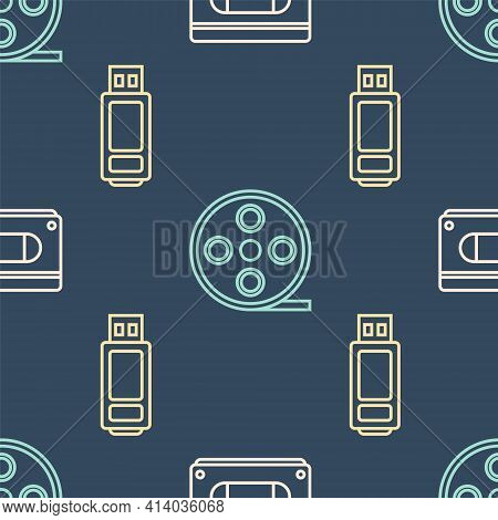 Set Line Vhs Video Cassette Tape, Usb Flash Drive And Film Reel On Seamless Pattern. Vector