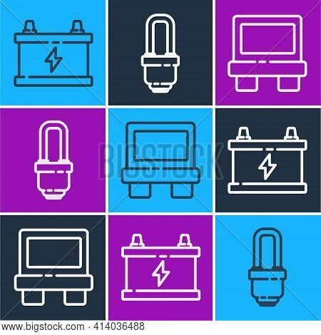 Set Line Car Battery, Fuse And Led Light Bulb Icon. Vector