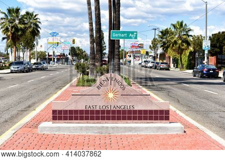LOS ANGELES, CALIFORNIA - 12 MAR 2021: Welcome to East Los Angeles sign in the median on Beverly Boulevard.