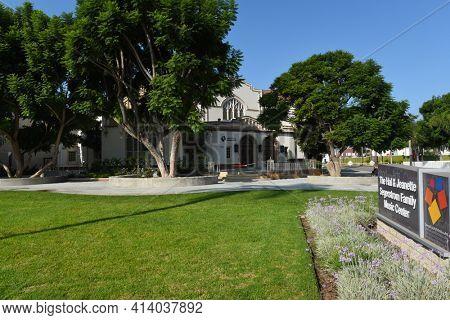 SANTA ANA, CALIFORNIA - 23 SEPT 2020: Segerstrom Music Hall at the Orange County School of the Arts.