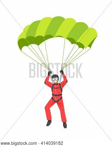 Parachutist Flying With A Green Parachute. Parachuting And Vector Flat Illustration Isolated On Whit