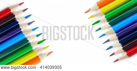 Pencils Isolated On White Background With Copy Space. School And Creative Painting Concept With Colo