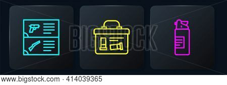 Set Line Weapon Catalog, Weapons Oil Bottle And Military Ammunition Box. Black Square Button. Vector