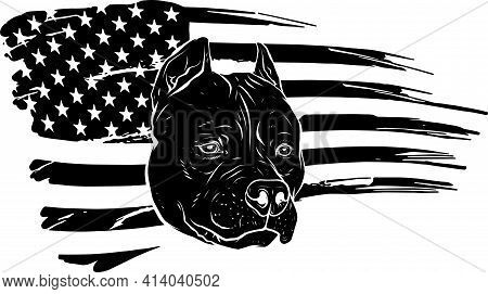 Black Silhouette Of Head Pitbull With American Flag Vector Illustration