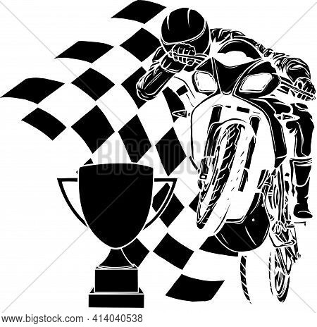 Black Silhouette Of Riders On Sport Motorbike With Cup And Race Flag
