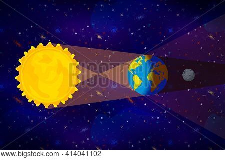 Cartoon Diagram Of Lunar Eclipse Infographic On Deep Space Background