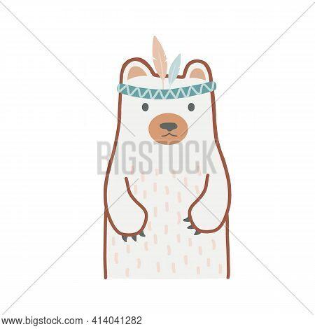 Wild Child - Cute Hand Drawn Nursery Poster With Cartoon Bear In Tribal Headband. Vector Illustratio