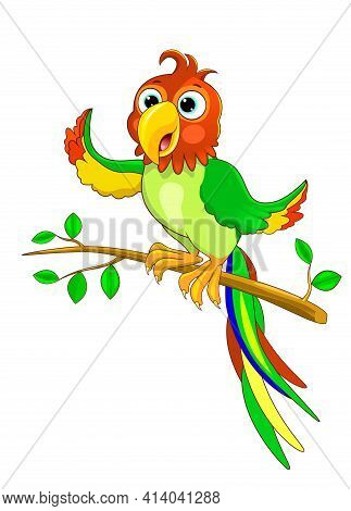 Green Cartoon Parrot Sits On A Tree Branch. Parrot Character.