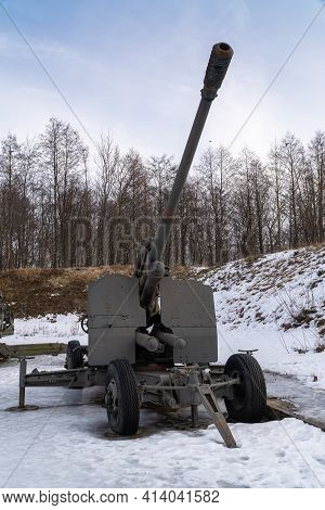 Russia. March 14, 2021. The Kc-19 100-mm Anti-aircraft Gun Of The 1947 Model Is Displayed In The Ope